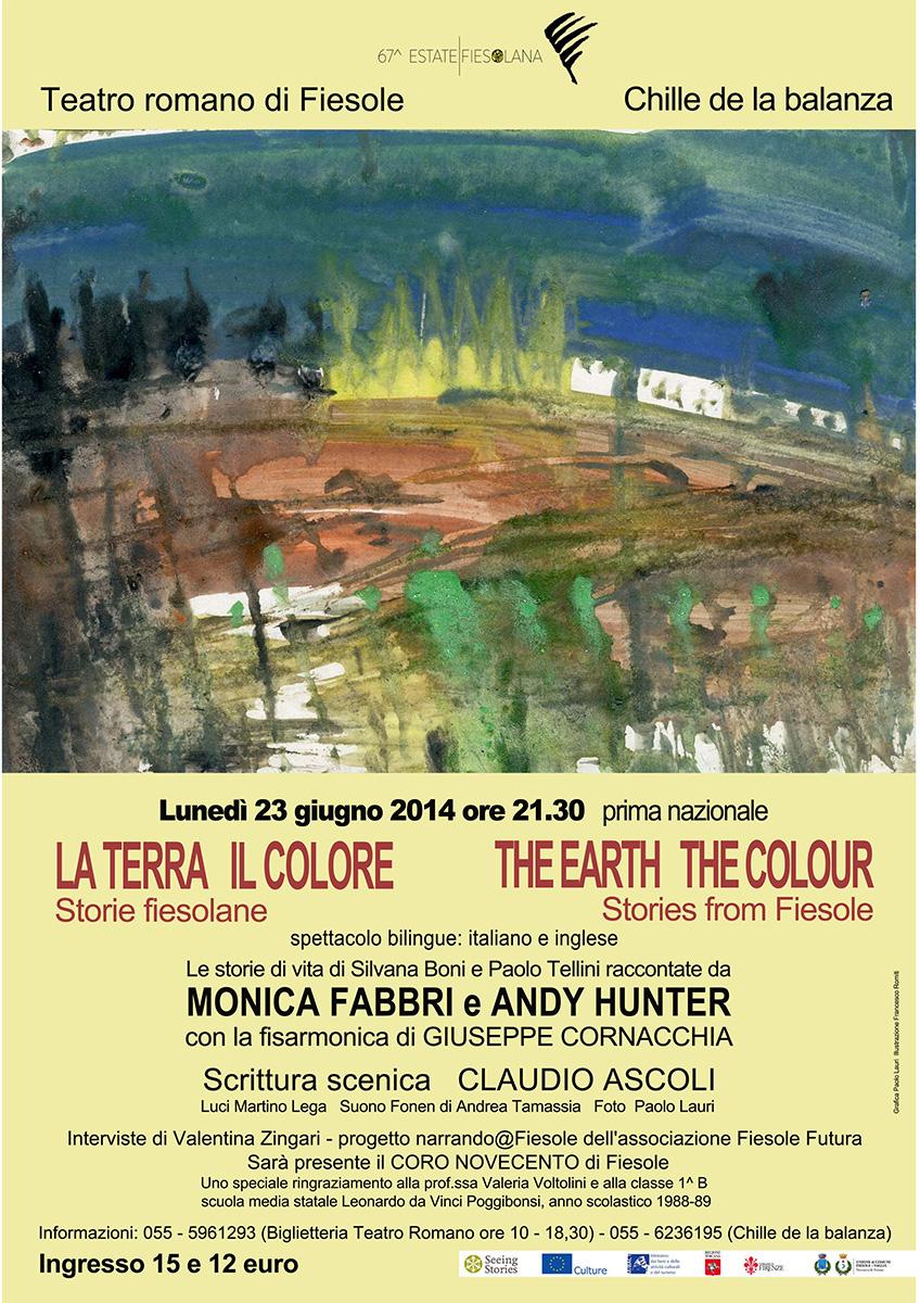 """Chille de la balanza, giugno2014, Fiesole. Locandina dello spettacolo """"La Terra, il Colore"""""""
