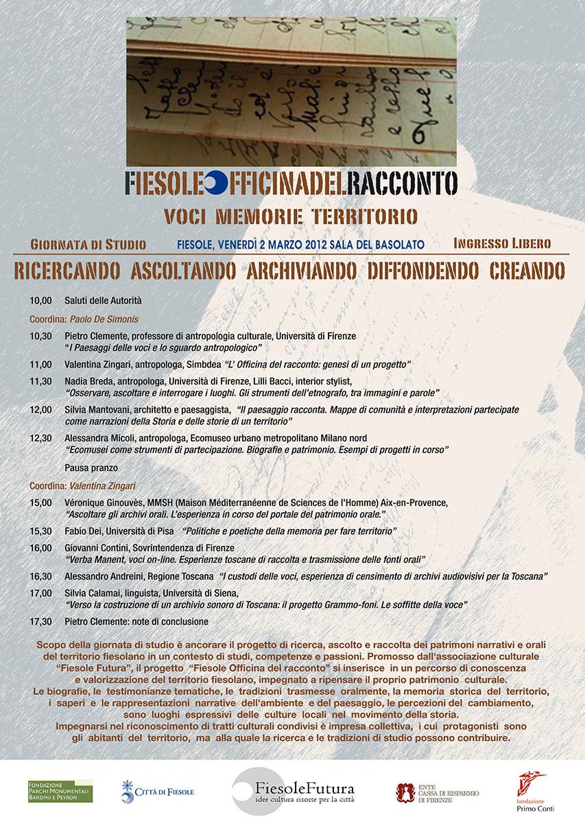 """Fiesole Futura, marzo 2012. Locandina della giornata di studi per la presentazione del progetto """"Officina del Racconto"""""""