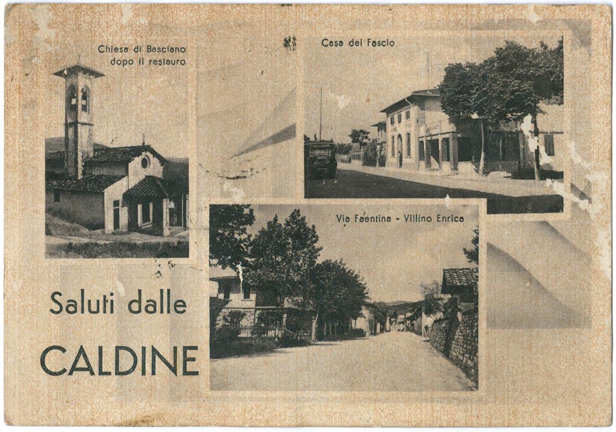 "Collezione R.Jahier, 1941, Caldine. Cartolina a veduta multipla ""Saluti dalle Caldine"""