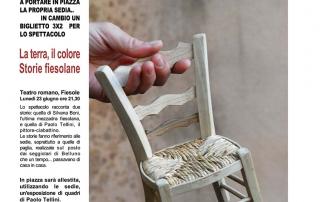 """Chille de la balanza, giugno2014, Fiesole. Locandina dell'evento svoltosi in Piazza Mino """"Porta la tua sedia"""""""
