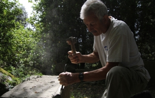 Guido N. Zingari, giugno 2014, Montececeri. Enrico Papini, scalpellino